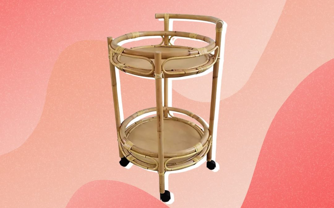 Bed Bath & Beyond Just Launched a Chic Bar Cart That's a Must-Have for Rattan Lovers and Plant Parents
