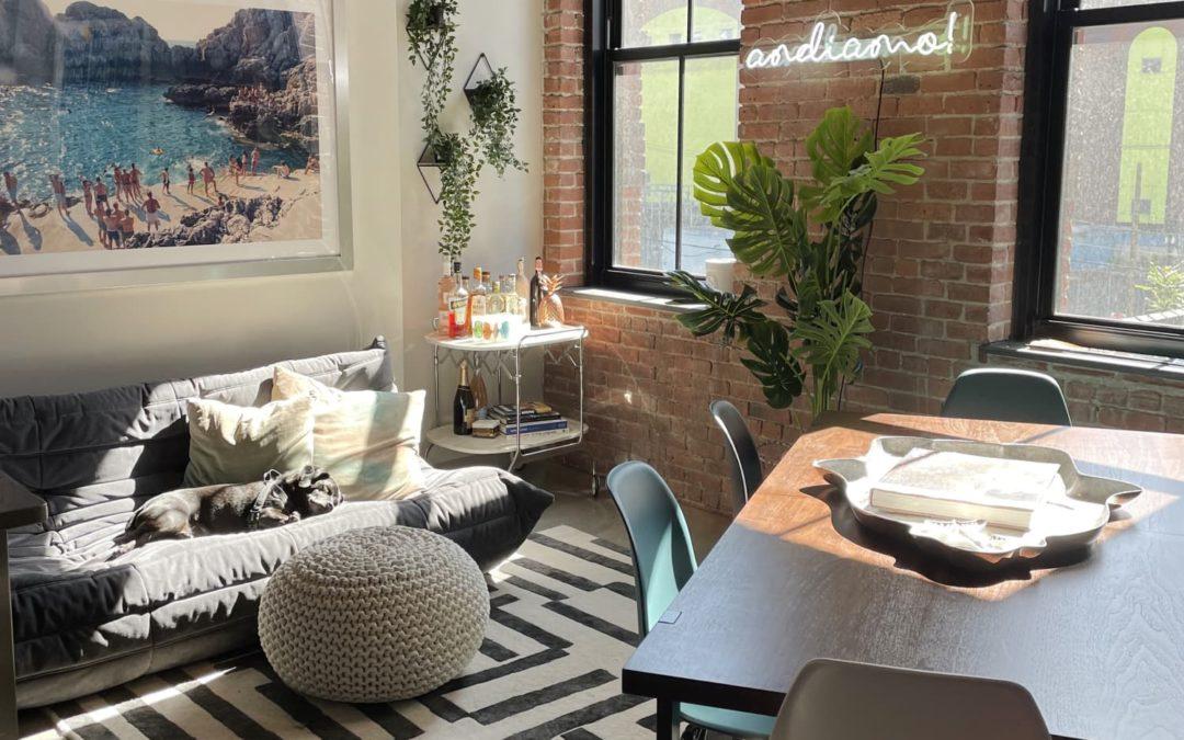 This Cool Jersey City Loft Has Renter-Friendly Concrete Wallpaper