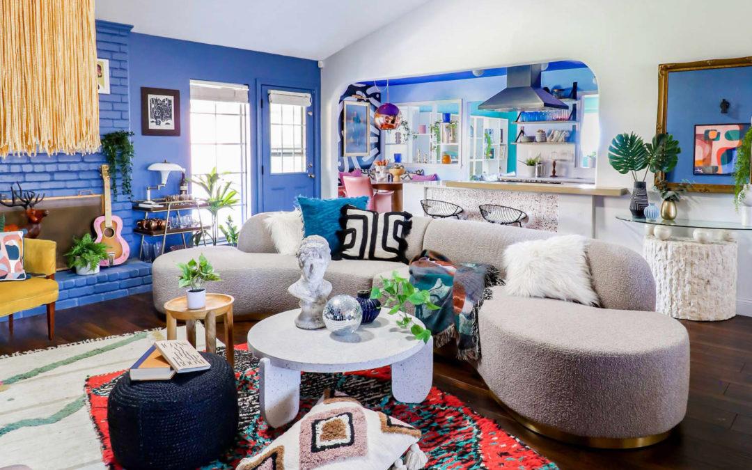 This Maximalist House Has a Blue Kitchen, Wild Wallpaper & Hidden Storage Ideas