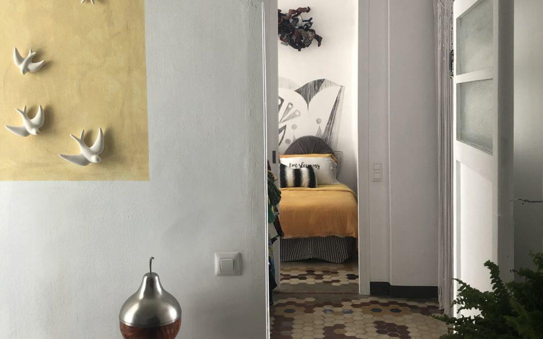 A Gorgeous, Tiled Spanish Apartment Has a Neat Mondrian-Inspired Closet