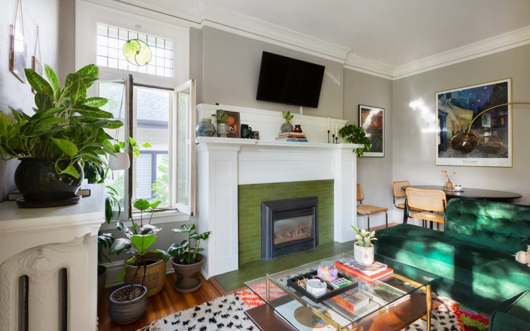 A Sunny Denver Apartment Charms With Stained Glass, Pink Tile, and 48 Plants